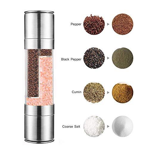 HoneySheep 2 In 1 Zout en Peper Grinder Set,Roestvrij Staal Salt Grinder met Verstelbare Keramische Rotor, Zoutmolen en Pepper Mill Shaker,Dual Mill Spice Jar
