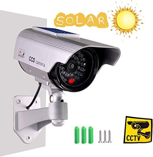 Tech Traders Caméra de Surveillance étanche à énergie Solaire avec lumière LED Argenté