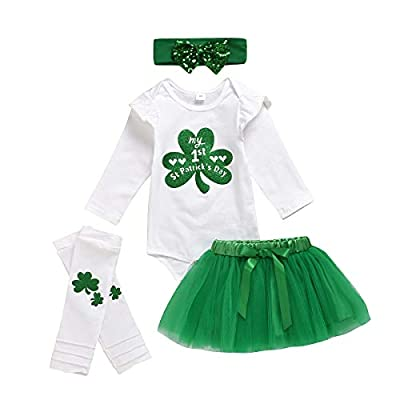 My 1st St. Patrick's Day Outfits Baby Girls Clover Printed Romper+Green Tutu Skirt+Headband+Leg Warmers Clothes (Green, 3-6 Months)
