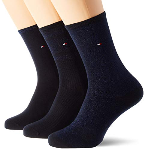 Tommy Hilfiger Th Women Sock 3p Giftbox Lurex calcetines, azul marino/azul, 35/38 (Pack de 3) para Mujer