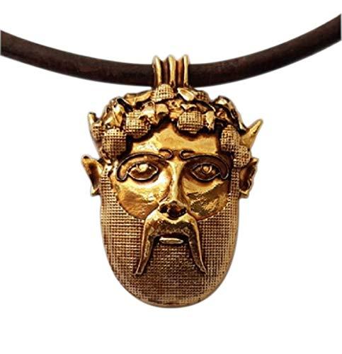 Dionysos Maske, Amulett Anhänger Vergoldetes Metall mit Halskette. Bacchus, Gott des Weins. Symbol des Überflusses. Sommelier und Weinliebhaber geschenk. Handgefertigtes Juwel, Einzigartiges Modell