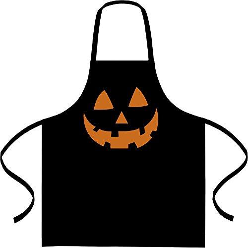 Shirtgeil Jack O' Lantern pompoen gezicht Halloween kookschort, barbecueschort, schort Eén maat zwart
