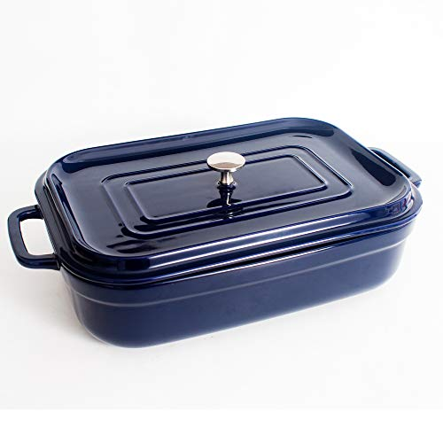 Covered Casserole Dish With Lid, Ceramic Baking Dishes Set for The Oven 4 Quart Large Stoneware 9 x 13 Inch Blue