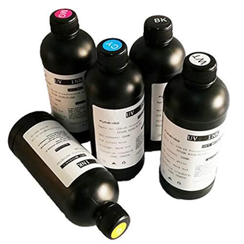 Led UV Curable Ink for UV Flatbed Printer L800,L1800,R1390,R1400,DX5,DX7(5 Bottles 500ML/Set )
