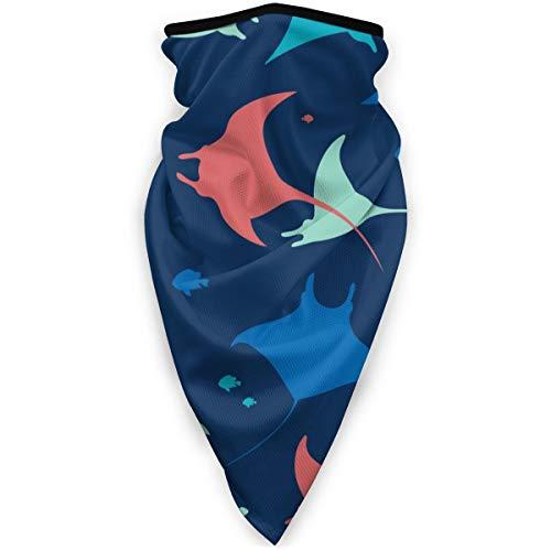 Behang Met Zee Dieren Op Blauwe Achtergrond Winddicht Gezichtsmasker Verstelbare Gezicht Hoofd Warmer Voor Outdoor Sport Multifunctionele Hoofddeksels