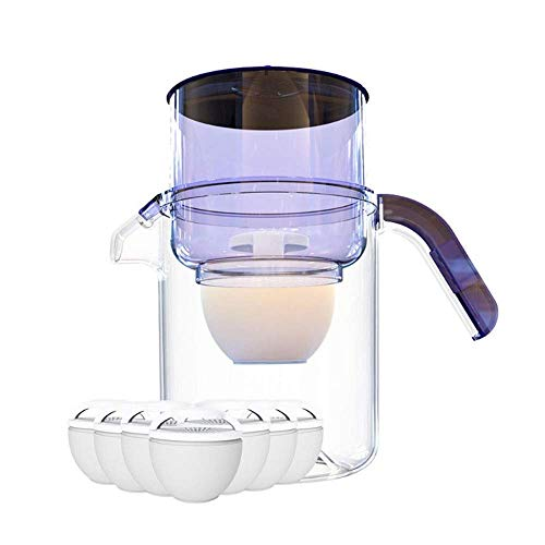 N/Z Daily Equipment Water Filter Jug Kitchen 3.5L Activated Carbon Water Filter Jug Table Water Filter Reduce of Limescale And Chlorine Compact Jug BPA Free with 7 Filters Purple