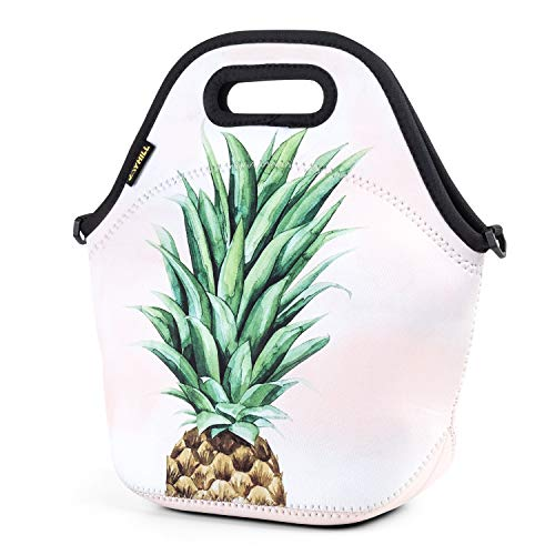 Neoprene Lunch Bag Cute lunch bags for Women Kids Girls Men Teen Boys Insulated Waterproof Lunch Tote Box for Work School Travel and Picnic Green Pineapple