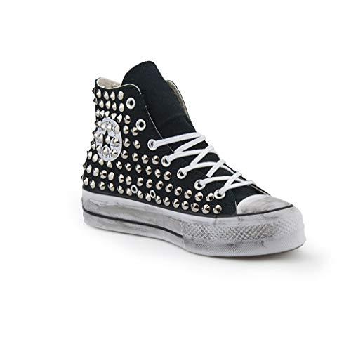Scarpe Platform Personalizzate Borchiate Nera Sneakers (Artigianali) con Borchie Cono Argento Effetto Invecchiato