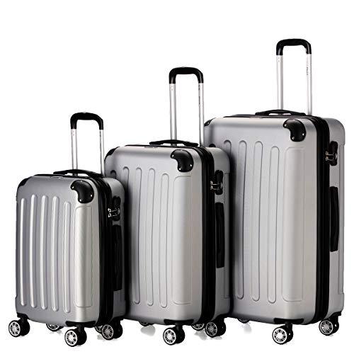 Flexot 2045 3er Reisekoffer Set - Farbe Silber Größe M L XL Hartschalen-Koffer Trolley Rollkoffer Reisekoffer 4 Rollen