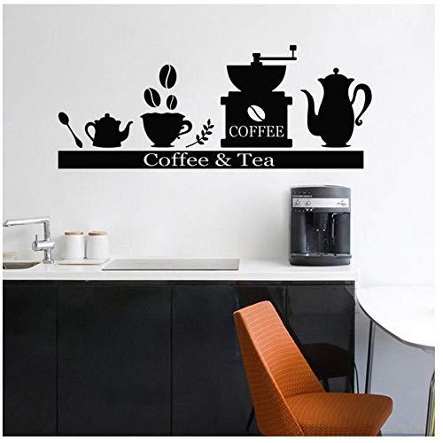 MINGKK - Adhesivo de pared para cocina con máquina de té y café o té, estante para decoración del hogar, bar, vinilo extraíble, 57 x 23 cm