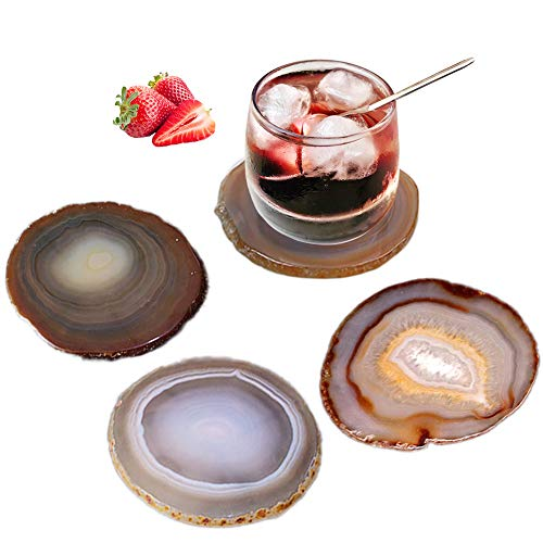 AMOYSTONE Agate Coasters for Drinks Stone Coasters Set of 4 Housewarming Gift Decorative for Home...
