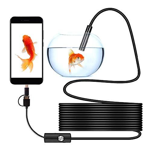 You's Auto USB Endoskop HD Endoskopkamera mit 3-in-1 Konverter LED wasserdichte Endoskop Inspektionskamera für Android Mac (Harte Linie, 10M)
