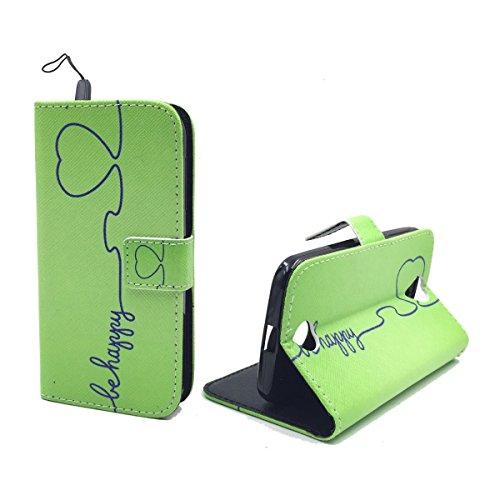 König Design Handyhülle Kompatibel mit Acer Liquid Z330 Handytasche Schutzhülle Tasche Flip Hülle mit Kreditkartenfächern - Be Happy Design Grün