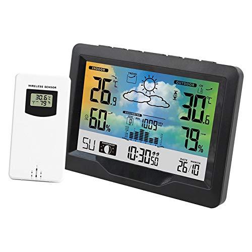 Non-brand Weather Forcast Station Termómetro Inalámbrico para Interiores Y Exteriores Higrómetro Reloj Digital Pantalla LCD Estación Meteorológica