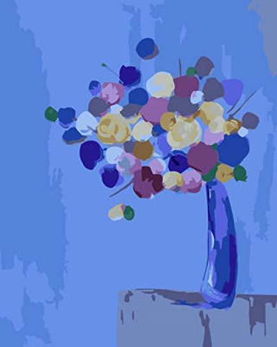 No Brand DIY op cijfers schilderen abstract beschilderde vaas DIY schilderen op cijfers olieverfschilderij voorgedrukt canvas cadeau voor volwassenen kinderen huis decoratie met 40 * 50 cm