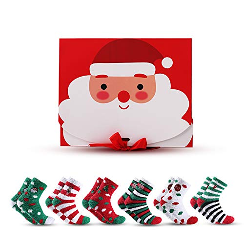 6-Pair Fuzzy Christmas Socks for women and men/Adult Christmas Winter Holiday Socks/Novelty Gift Box/Extra Thick Warm,Stretchy Breathable,Soft,Cozy,Fuzzy,Fluffy,Cartoon/One Size Fits All Age Unisex