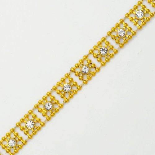 """3/8"""" Rhinestone Trim, Wedding Trim for Wedding Decoration, home decor, craft projects by 1 yard, Crystal/Gold, TR-10380"""