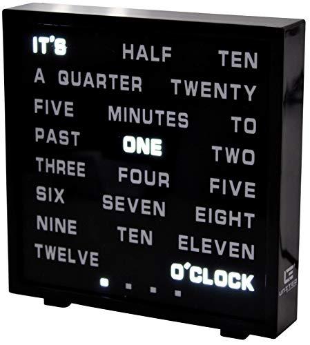 United Entertainment LED Buchstabenuhr - LED Wort Uhr/Wörter Uhr/Uhr in Worten/Word Clock Englisch 17x16.5 cm - Schwarz