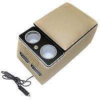 マークX 120系 130系 アームレスト付き コンソールボックス LED照明 USBポート ドリンクホルダー 収納ボックス 車用 【ベージュ】