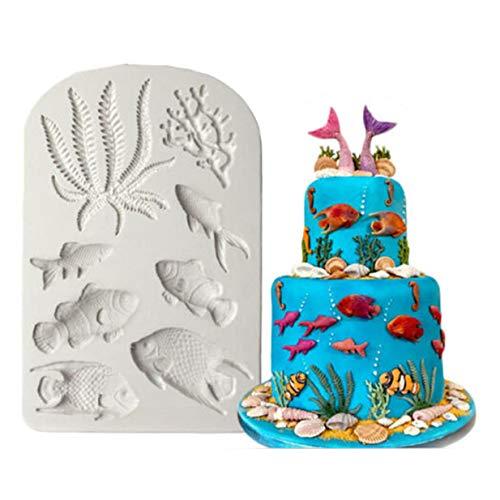 EJY Gris Poisson de mer Moule en Silicone Moule à gâteaux au Chocolat Fondant Décorations
