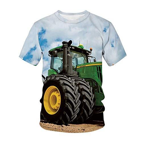Camisetas Tractores Camiseta Niños Camisetas Manga Corta Camisas Casual Tops Poliéster (A1,XL)