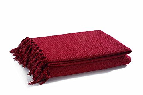 EHC Überwurf aus 100prozent Baumwolle in Waffelstruktur für extra große Sofas mit 3 Sitzen oder King-Size-Betten, 228 x 254 cm, Wein, King Size