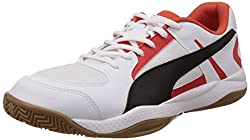 Puma Unisex Adult Veloz Indoor II Indoor Shoes, White (White-Black red 03), 42 EU