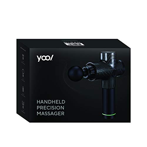 Yool Handheld Precision Massager Gun Deep Tissue Muscle Pain Relief 4 Heads 3 Modes High Torque Quiet Glide Technology Cordless & Rechargeable
