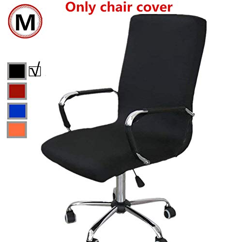 Funda para silla de oficina, repuesto universal para silla giratoria con reposabrazos, extraible, ajustable, negro, Medium