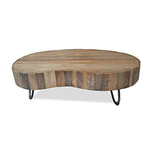 MÖBEL IDEAL Couchtisch aus massivem Teak/Teakholz im rustikalen Design Tisch - 38 x 80 x 110 cm - Beistelltisch in Braun Massivholz in Nierenform