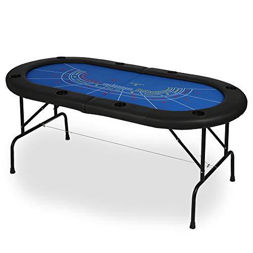 Vilobos Folding Poker Table Texas Holdem Poker Multiple Players Casino Games Blackjack Baccarat -Blue