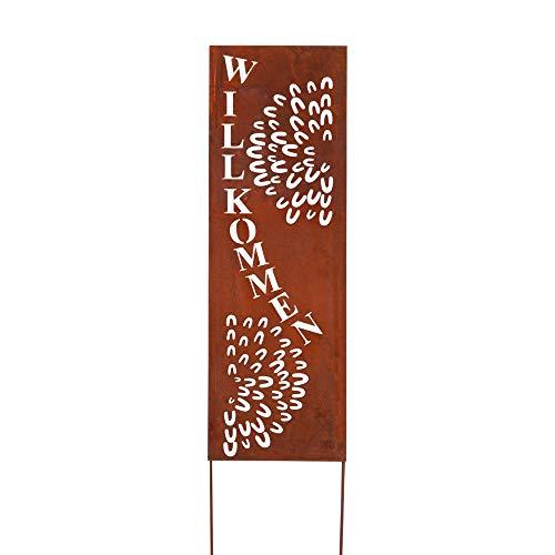RM Design Gartendekoration Roststecker Metallschild mit Willkommen Spruch 90 x 30 cm