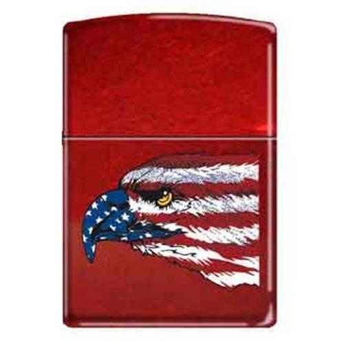 Zippo Amerikanischer Adler und Flagge Candy Apple Red Zigarettenanzünder