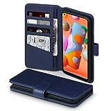 TERRAPIN, Kompatibel mit Samsung Galaxy A11 Hülle, [ECHT Leder] Brieftasche Hülle Tasche mit Standfunktion Kartenfächer & Bargeld - Blau