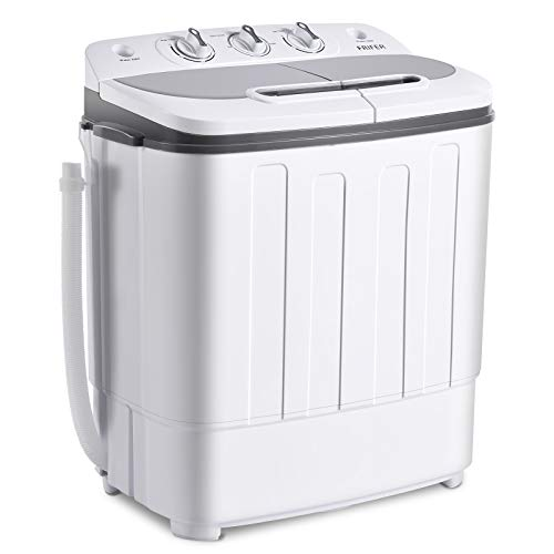 Frifer Portable Mini Compact Twin Tub Washing Machine 8Lbs Wahser and 5.5Lbs Spin Combo Semi-Automatic Portable Washer Machine with Timer Control for Apartment, Dorms, RVs, Camping, Grey