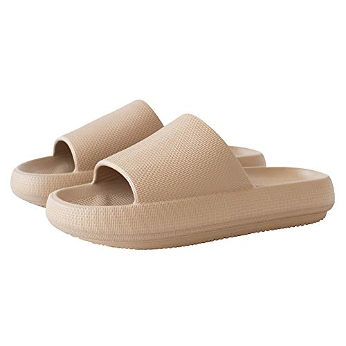Men and Women Shower Pool Sandals Slippers with Ergonomic Pelvic Floor Cushioned Extra Thick Waterproof Anti-Skid Against The Stench Anti-mud Bathroom Slippers Open Toe House SlippersU720SYSTX-Milk tea-35-36