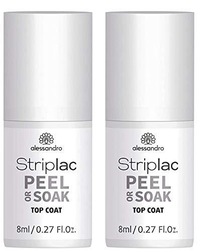 2 x alessandro Striplac Peel or Soak Top Coat – LED-Überlack für eine perfekt glänzende Farblackierung – Schützt & versiegelt für bis zu 3 Wochen – 2 x 8ml