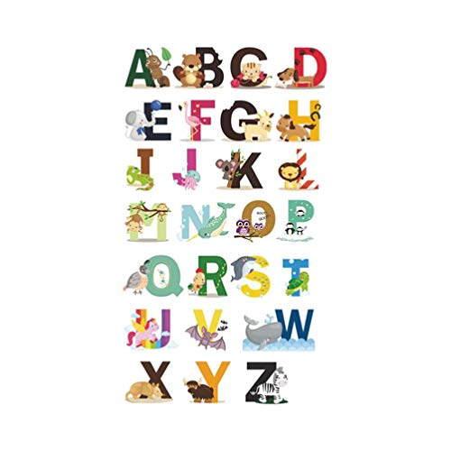 BESPORTBLE Adhesivos de Pared de Alfabeto Animal 26 Calcomanías de Pared de Animales con Letras en Inglés - Acuarela Abc Adhesivos de Pared Extraíbles para Sala de Estar de Dormitorio Infantil