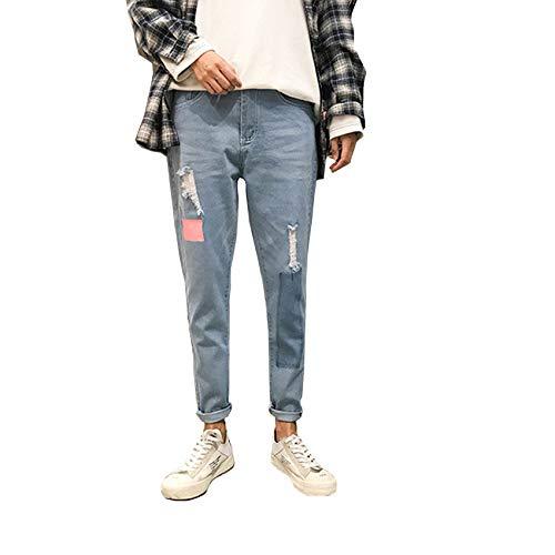 Pantalones Vaqueros elásticos de Primavera y Verano, sección Delgada, Tendencia Juvenil Delgada de Mezclilla Informal de Nueve Puntos para Hombres