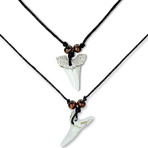 HAND-PRO Colgante Diente de Tiburon Collar Diente de Tiburon (x2) Collar colmillo Tiburon surfero Collar Hombre Diente Tiburon Blanco