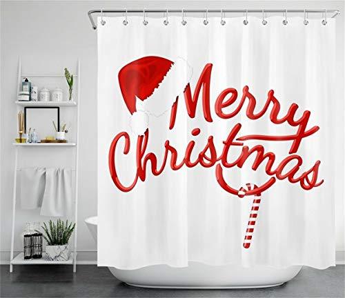 Frohe Weihnachten Weihnachtsmütze Süßigkeiten Duschvorhang für Badezimmer,wasserdichtes & schnelltrocknendes Polyester,hochauflösendes Muster,12Haken,180X180cm,Heimtextilien