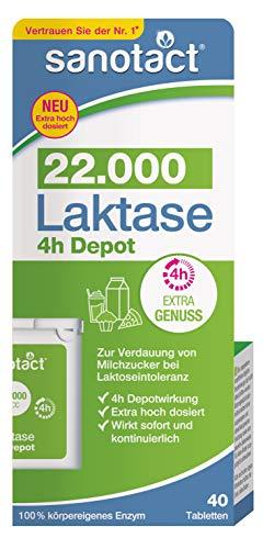 sanotact Laktase 4h Depot 22.000 FCC - 40 Tabletten, zur Verdauung von Milchzucker bei Laktoseintoleranz, Tabletten-Box, 16 g