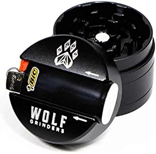 Wolf Grinders   4 Piece Mini Herb Grinder   Black   CNC Machined from Aircraft Grade Aluminum w/Anodized Finish   Built in...