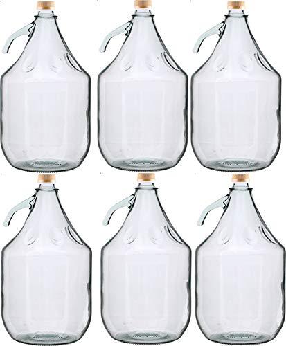 Unbekannt 6 STÜCK 5L Gärballon mit SCHRAUBVERSCHLUSS Flasche Glasballon Weinballon Glasflasche