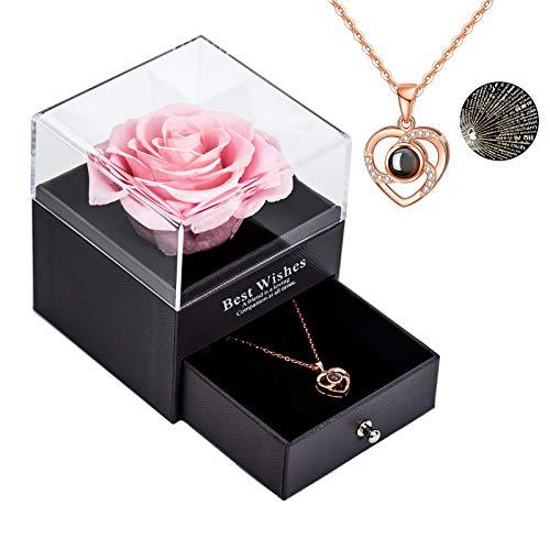 Rosa real preservada Eterna hecha a mano Rosa preservada con amor, rosa eterna hecha a mano para el día de San Valentín Aniversario de bodas Día de la Madre Regalos románticos para ella, Rosado