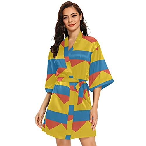 Kimono corto para mujer con la bandera de Colombia, multicolor, S