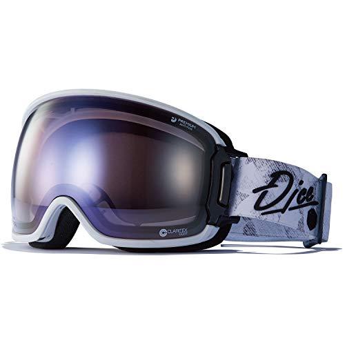 DICE(ダイス) スキー スノーボード ゴーグル BK04265W くもり止めゴーグル 眼鏡使用可能 バンク BANK 紫外線で色が変わる 調光ULTRAレンズ ホワイト/アイスミラー×ULTRAライトパープル調光