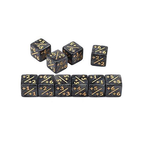 VIGE 10x Würfelzähler 5 Positiv + 1 / + 1 & 5 Negativ -1 / -1 Für Magie Das Sammeltischspiel Lustige Würfel Hohe Qualität - Schwarz