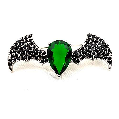 Weichuang Chic Einfache Designer Schwarz Winged Grüne Birnenförmige Steinkörper Bat Figur Brosche-Stifte-Halloween-Kostüm-Schmucksachen for Kragen Revers