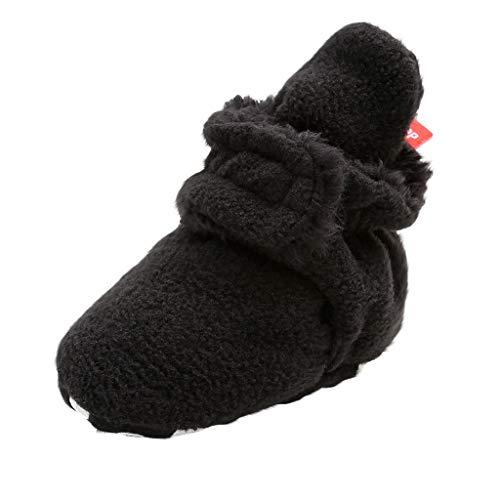 LEXUPE Unisex-Baby Neugeborenes Fleece Booties Bio Baumwoll-Futter und rutschfeste Greifer Winterschuhe(A-Schwarz,13)